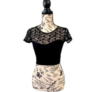 Pins and needles black crochet lace crop top small